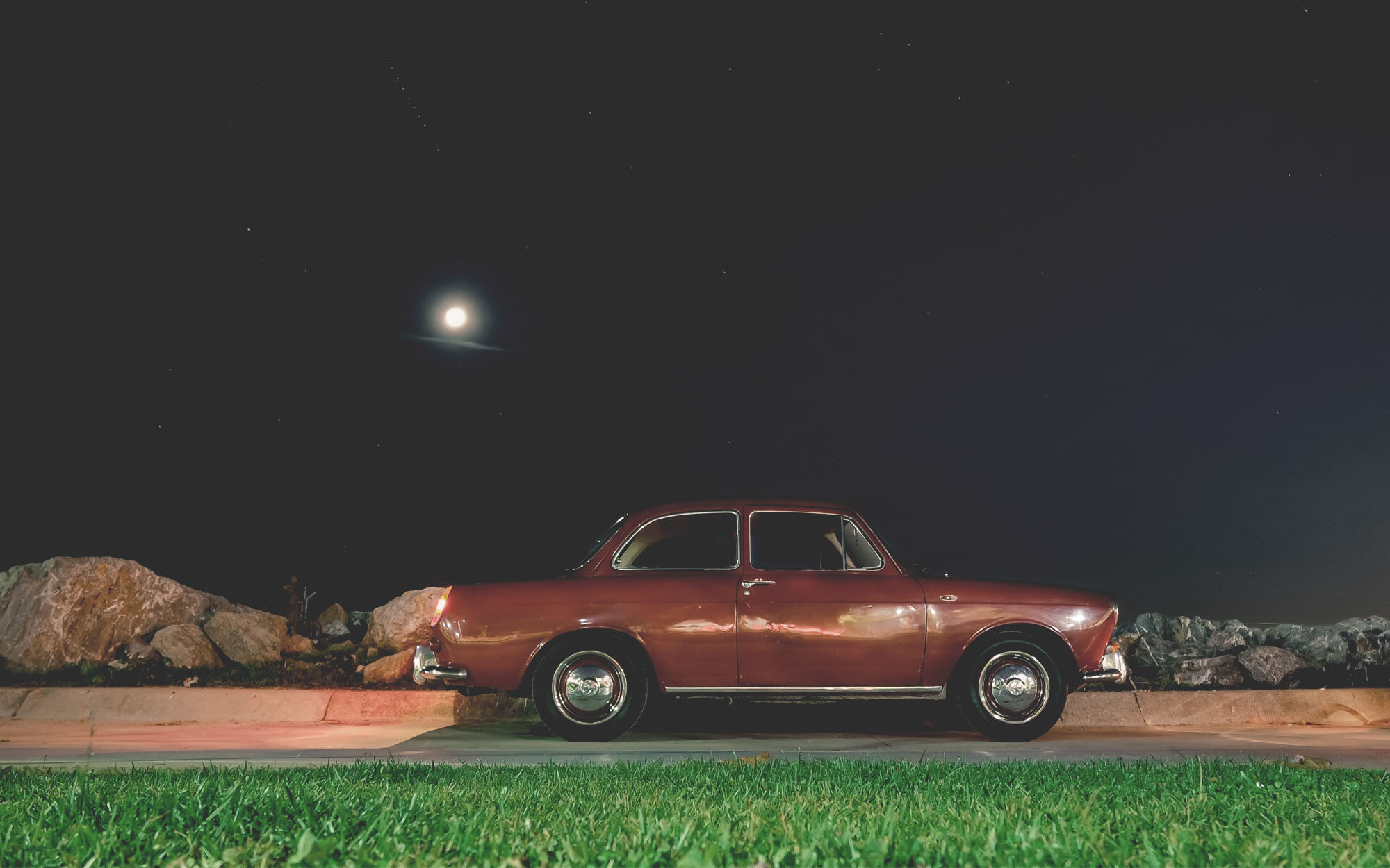 Old car at night